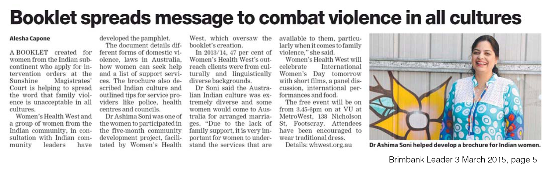 Booklet spreads message to combat violence in all cultures