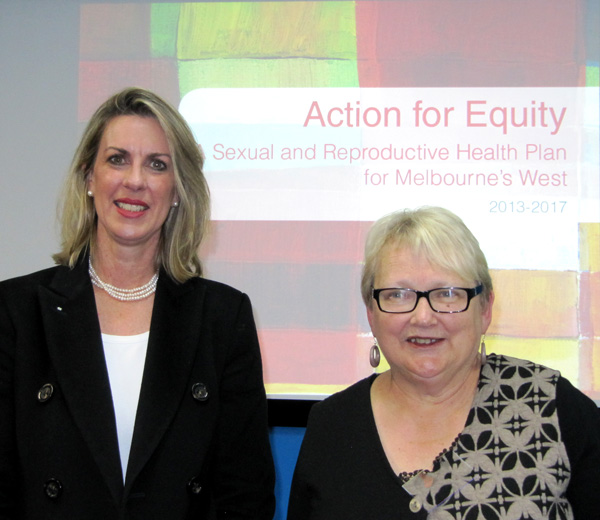L-R Georgie Crozier, Parliamentary Secretary for Health and Professor Anne Mitchell, Australian Research Centre in Sex, Health and Society