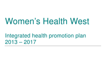 Integrated health promotion plan 2013-17