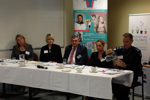 Panel members (L-R): Kellie Nagle, Bronwyn Upston, John O'Brien, Dr Jennifer Whelan and Acting Commander Dean Stevenson. Photo by Karin Holzknecht.