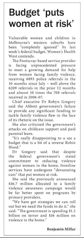 Wyndham Star Weekly article about federal budget impact on women experiencing family violence